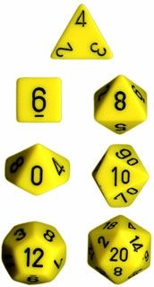 OPAQUE YELLOW/BLACK 7-DIE SET