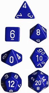 OPAQUE BLUE/WHITE 7-DIE SET