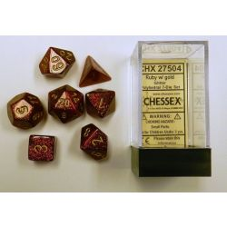 GLITTER POLYHEDRAL RUBY/GOLD 7-DIE SET
