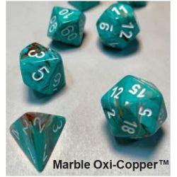 MARBLE OXI-COP/WHITE 7-DICE SET