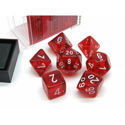 TRANSLUCENT POLYHEDRAL RED/WHITE 7 SET