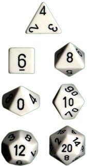 OPAQUE WHITE/BLACK 7-DIE SET