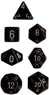 OPAQUE BLACK/GOLD 7-DIE SET