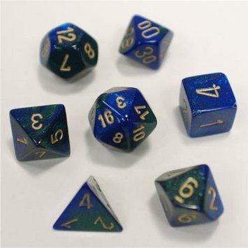 GEMINI BLUE-GREEN W/GOLD 7-DIE SET