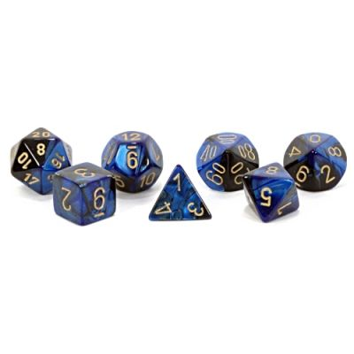 GEMINI BLACK-BLUE W/GOLD 7-DIE SET