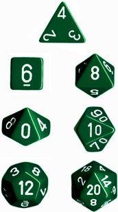 OPAQUE GREEN/WHITE 7-DIE SET