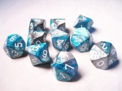 GEMINI STEAL-TEAL W/WHITE 7-DIE SET
